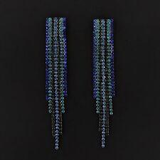Women Sparkling BLUE BLACK Crystal Luxury Long Drop Tassel  Bridal Earrings SJ