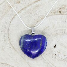 "Lapis Lazuli Heart Necklace 28mm with 20"" Silver Chain Throat Third Eye Chakra"