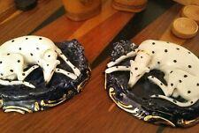 Exquisite Rare Pair English Porcelain Staffordshire Dalmatian Dogs, 19th Century