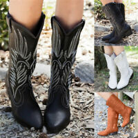 Womens Cowgirl Mid Calf Boots Pointed Toe Block High Heels Western Cowboy Shoes