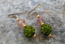 Olive Green Pave Bead Earrings Disco Ball Beads Clay Dangle Rhinestones Gold Pl.