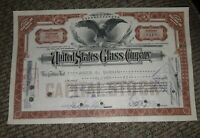 STOCK CERTIFICATE 11 Shares US UNITED STATES GLASS COMPANY CO Pennsylvania OLD!
