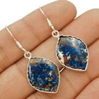Natural Azurite 925 Solid Sterling Silver Earrings Jewelry ED19-9