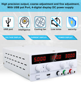 USB DC Lab Regulated Power Supply Adjustable Switching Bench Source Stabilizer
