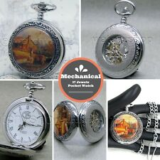 "Mechanical Pocket Watch Skeleton See-through Back Deer Enamel 14"" Fob Chain C14b"