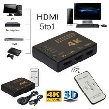 HD 4K HDMI Switch 5Port Switcher Selector Splitter Hub 3D 1080p IR Remote+Cable