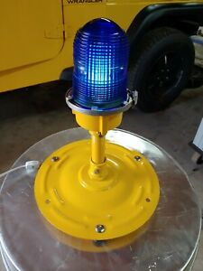 Genuine Blue Fresnel glass Taxiway Lights repurposed to desk lamps
