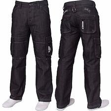 NEU ENZO Herren Designer Cargo Combat Blau Coated Denim Jeans Hose Alle Taille Größe