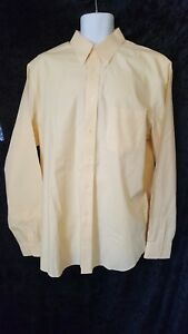 Eddie Bauer Mens Button Down Butter Yellow Dress Shirt Size Large Tall  NWOT