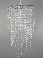 New Chrome Chandelier Pendant Shade With Stunning Clear Acrylic Jewel Droplets