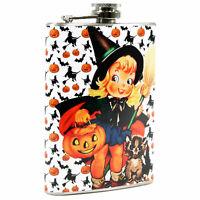 8 oz Steel Hip Flask Little Witch Pumpkin Retro Vntg Halloween Liquor Gift Decor