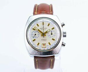 Vintage 1970s Breitling Chronograph Incabloc Wristwatch Leather Strap Box Steel