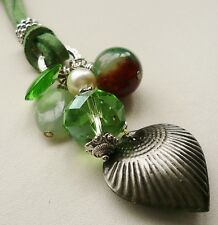 Pendant CLUSTER NECKLACE Green Mixed Bead Aventurine Jade Glass Silver  KCJ109