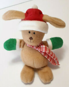 """Vintage 1987 Hallmark Boppers the Bunny Plush 6"""" Red Hat/Green Mittens/Scarf"""