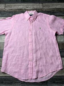 Ralph Lauren Shirt Silk Linen Blend L Classic Fit Pink Short Sleeve Button Down