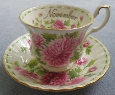 Royal Albert Flower of the Month Cup and Saucer Set November Mums ENGLAND