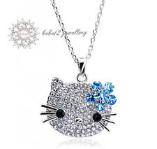 Hello Kitty Cat/Animal Pendant Necklace/Crystal/Blue/RGN096S