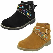 Girls Black/Tan Spot On Ankle Boots H5072