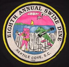 VTG REPTILE COVE SC 8th Annual Swine Dine 1989 JERZEES T-Shirt XL Pig Alligator