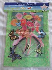 New listing Custom Decor Flower Power Butterflies Pink Bike Basket Garden Flag 12 x 18 New