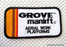 """AERIAL WORK PLATFORM GROVE MANLIFT EMBROIDERED PATCH ADVERTISING 4 7/8"""" x 2 1/2"""""""
