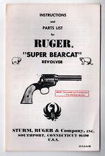 1978 RUGER Super Bearcat Revolver INSTRUCTION MANUAL Guns GUN Sturm FIREARMS