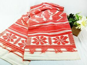 Vintage hand woven slavic towel Rustic linen towel table runner Farmhouse rustic