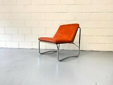 More details for mid century modern armchair in the style of pieff constructed in tubular chrome