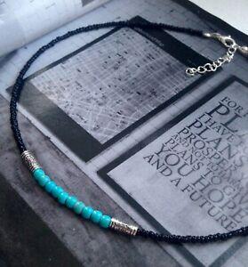 Black and turquoise choker necklace, boho, hippie, gipsy, beach jewellery UK