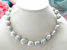 Real 9-10mm Natural Silver Gray Baroque Freshwater Cultured Pearl Necklace 18''