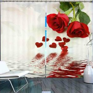 Bright Red Rose Water 3D Curtain Blockout Photo Printing Curtains Drape Fabric