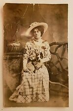 Half Penny British Post Card Real Photo Lady with a dog