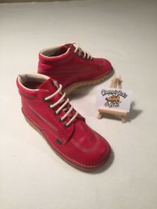 Kickers Red Leather Kick Hi Ladies Lace Boot UK 5 'MOD SKA VINTAGE RETRO'