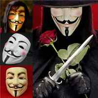 V For Vendetta Movie White Costume Mask Guy Fawkes Anonymous Halloween Cosplay