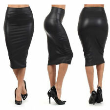 Faux Leather Stretch, Bodycon Skirts for Women