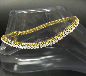 Stunning Diamante Anklet Ankle Chain Indian Payal Bollywood Single or Pair