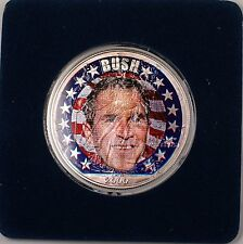 2000 American Silver Eagle (ASE) George Bush Election UNC Colorized Coin 1 Oz