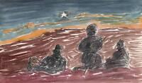 IMPRESSIONIST THE THREE SHEPHERDS Watercolour Painting T J PITT c1970