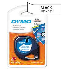 "DYMO LetraTag Plastic Label Tape Cassette 1/2"" x 13ft White 91331"