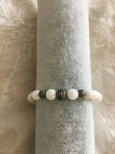 LeslieA. Designs Stretch Style Bracelet With Moonstones And 3 Diamond Beads