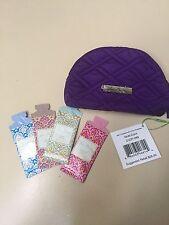 Vera Bradley Purple Mini Cosmetic Case w/4 Sample Body Lotions (5ml each) NWT