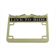 "Gold Inlay Live to Ride License Plate Frame for 4"" x 7"" Harley Motorcycle Custom"