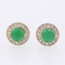 10mm Round Earring 18K Yellow Gold Plated Emerald Zircon Stud Earrings Jewelry