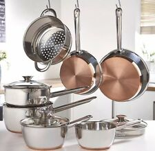 Sabichi 7 Piece Copper Base Pan Set Steamer Basket Strainer Lids - BARGAIN
