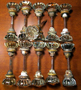 Glass Crystal Door Knob  Antique Salvage Hardware Matching 12 Point 10 1/2 Sets