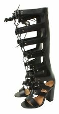 Ladies Zip up Summer Cut out Black Knee Calf High Heeled Sandals Shoe BOOTS UK 5 Black Faux Leather