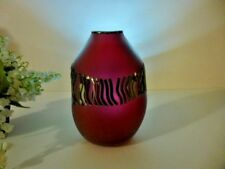 """EXQUISITE 6"""" Hand Blown Glass RASPBERRY ART GLASS VASE Mirror Etched SIGNED"""