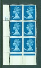 Great Britain 6 1/2p Machin Cylinder 2 Phos No. 17 Block of six Sg871 Mnh