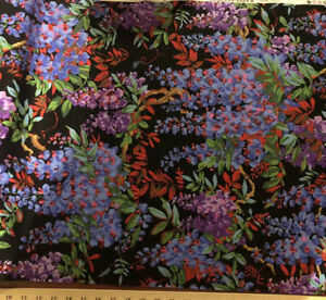 FREE SPIRIT COTTON FABRIC  Bty Quilting Sewing Purple print Wisteria Yard