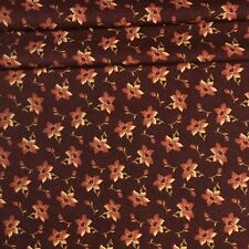 Floral Calico Fabric Flowers and Rose Buds Brown Tone on Tone 1/3 Yard